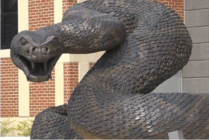 Bronze Rattler Sculpture in front of the FAMU CASS building   hand-sculpted by Brad Cooley Jr.