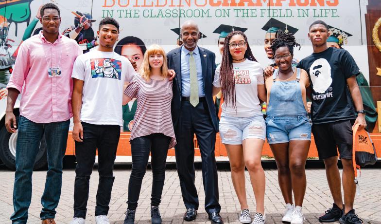 Larry Robinson, Ph.D., 12th president of Florida A&M University (FAMU), with FAMU students